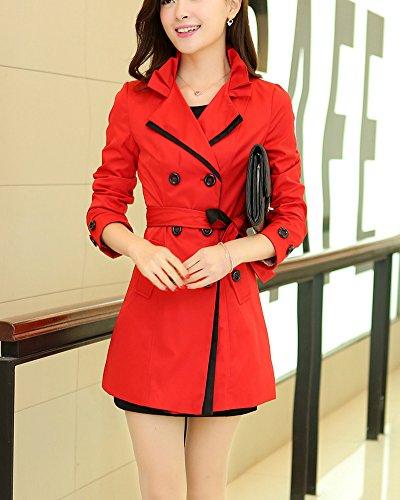 Mujer Chaqueta Abrigo Doble Abotonadura Manga Larga Trenca Coat Con Cinturón Rojo