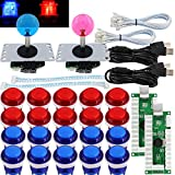SJ@JX Arcade 2 Player Game Controller Stick DIY Kit LED Buttons MX Microswitch 8 Way Joystick USB Encoder Cable for PC MAME Raspberry Pi Red Blue (Color: Blue Red)