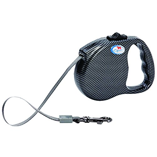 DOGNESS Carbon Fiber - Retractable Dog Leash, Modern Series, One Button Locking System, Suitable For Kids, 16 ft No Tangle Waterproof Ribbon Tape, Walking Training Jogging for Small Medium Large Dogs Series Fiber System