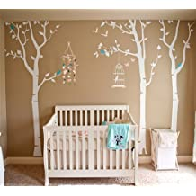 Pop Decors PT-0054 Three Birch Trees and Birdcage Removable Vinyl Art Wall Decals Mural for Nursery Room