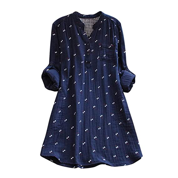 LANSKIRT Moda de Mujer Manga Vestido de botón Estampado de Doble Capa Escote en V Blusa de impresión Camisa Suelta Informal Tops Tallas Grandes: Amazon.es: ...