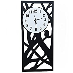 Lomoclock Wall Clocks Without Ticking Silent for Living Room Office Bedroom Bathroom Kitchen Children's Room Simple Drop AA Battery 16inch Large Numerals Cute Modern Pure Rectangle Clocks (Black)