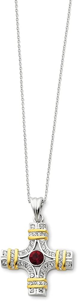 Jewelry Necklaces Necklace with Pendants Sterling Silver and Gold-plated Red and Clear Cz Wisdom 18in Necklace