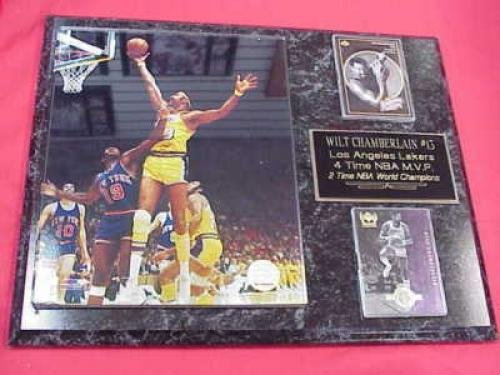 Wilt Chamberlain Los Angeles Lakers 2 Card Collector Plaque w/8x10 Vintage Color Photo