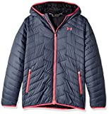 Under Armour Girls' ColdGear Reactor Hooded Jacket, Apollo Gray/Red, Youth X-Large