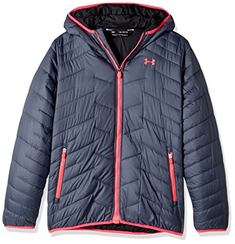 Under Armour Girls' ColdGear Reactor Hooded Jacket, Apollo Gray/Red, Youth X-Large by Under Armour