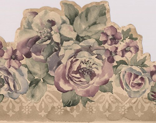 Purple Flowers Vintage Floral Wallpaper Border Retro Design, Roll 15' x 6.5''