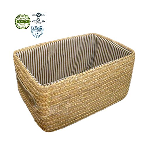 Ieasycan Handmade Woven Straw Storage Basket With Handles For Christmas, winter Red ¨C Valentine¡¯s Day Orange ¨C Halloween, Thanksgiving, fall