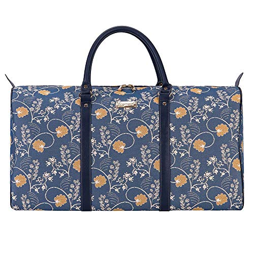 Signare Tapestry Women's Big Holdall Carry On Travel Luggage Bag Jane Austen Design (Jane Austen Blue) (BHOLD-AUST)