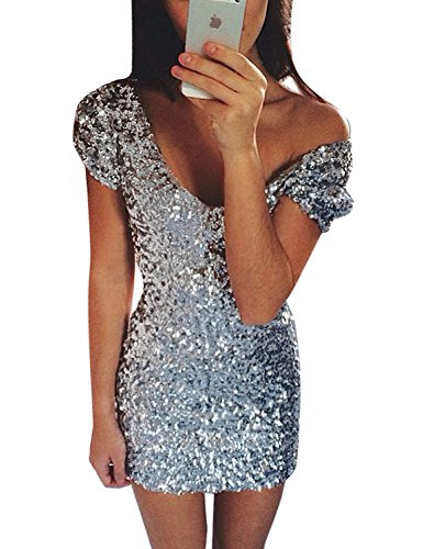 GRAPENT Womens Bodycon Sexy Silver Sequin V Neck Mini Short Dress Party Cocktail US 8