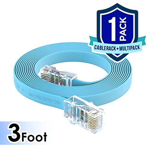 CableRack 3ft RJ45 to RJ45 Rollover Console Cable for Cisco Baby Blue