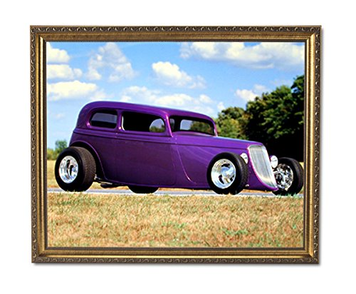 1932 Ford Coupe Custom Car Wall Picture Gold Framed Art Print 1932 Gold Framed Print