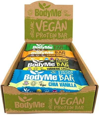 BodyMe Bio Vegan Protein Riegel | Gemischt Schachte | 12 x 60g Vegane Proteinriegel | Glutenfrei | 16g Komplette Veganes Protein pro Snack | 3 Proteine | Essentiellen Aminosäuren | Fitness Riegel
