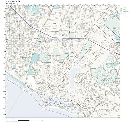 Amazon.com: ZIP Code Wall Map of Costa Mesa, CA ZIP Code Map