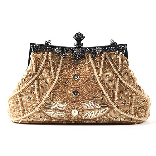 (Silveam Clutch Purse Vintage Beaded Evening Bag Sequined Clutches Party Handbag)