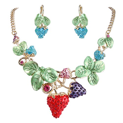 - EVER FAITH Women's Austrian Crystal Sweet Strawberry Leaf Necklace Earrings Set Multicolor Gold-Tone
