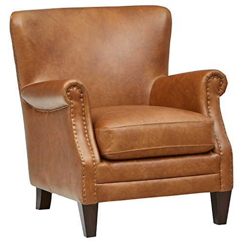 Stone & Beam Jacobsen Traditional Leather Accent Chair, 31
