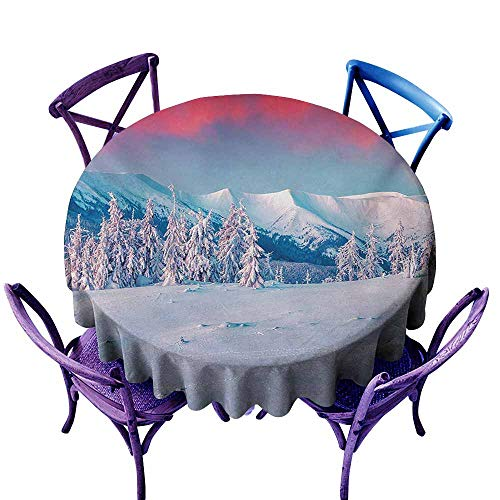Stain Resistant Round Tablecloth,Landscape Sunset Dawn in Winter Snowy with Pine Trees Forest Mountain Wiev,for Banquet Decoration Dining Table Cover,35 INCH,Dark Coral White Sky Blue