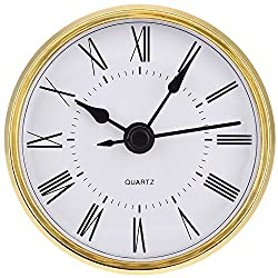 Hicarer 2.8 Inch (70 mm) Roman Numeral Quartz Clock Insert with Gold Trim