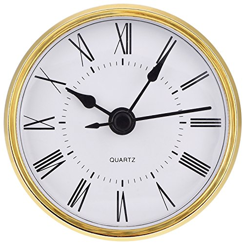 Hicarer 2.8 Inch (70 mm) Roman Numeral Quartz Clock Insert with Gold Trim ()