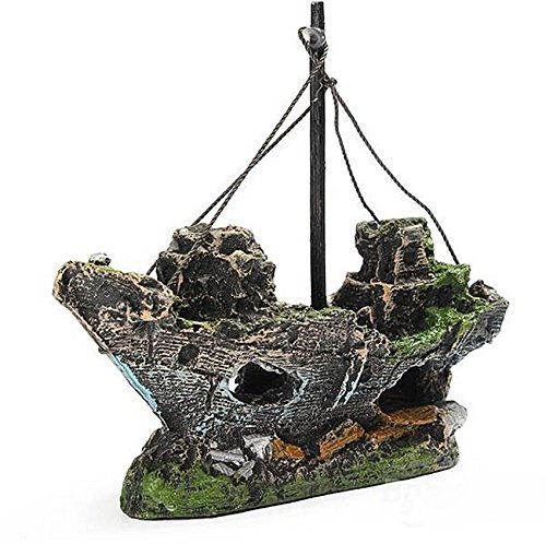 New Brand Aquarium Decoration Pirate Ship Boat For fish Tank Resin Ornament set40