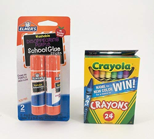 Crayola Crayons and Elmer's Glue Sticks Bundle (Two Items)