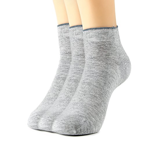 Luxurious Bamboo - 3-Pack Healthy and Natural Casual Bamboo Ankle Socks for Men, Women and Teens, Super Soft Luxurious Fabric, Irritation-Free, Lay-Flat Seams by Natural Underwear, Grey, Medium