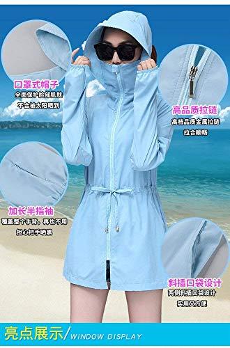 Slim Moda Prodotto Donna Incappucciato Plus Cappotto Solare Giacca Windbreaker Eleganti Traspirante Outwear Blau Manica Abbigliamento Giacche Lunga Protezione Casual Fit Outdoor UPUtZOnWq