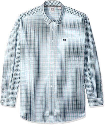(Cinch Men's Classic Fit Long Sleeve Button One Open Pocket Plaid Shirt, White/Teal, S)