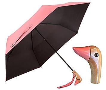 Pato Cabeza Mango De Madera paraguas, UV 50 + Shade Lluvia brillo plegable paraguas de