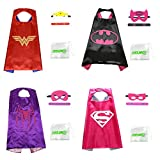 Superhero Cape, Mask and Slap Bracelet - Costume for Kids Birthday Party, Pretend Play, Dress up (Hero Girl Set, 4 Pack)