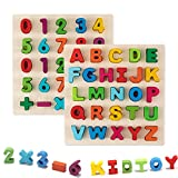 Jamohom Wooden Number Puzzle and Alphabet Puzzle Set Ideal for Early Educational Learning Puzzle Board Toys for Kids 2 Sets