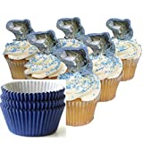 Home Vivations Bass Fish Cupcake Topper and Blue Liner Set- 24 Liners & 24 Bass Toppers