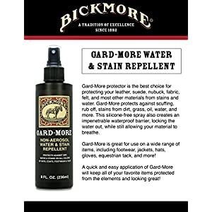 Bickmore Gard-More Water & Stain Repellent 8oz - Leather Protector and Suede Protector Waterproofing Spray Guard For Boots, Shoes, Clothing, Hats, Jackets & More