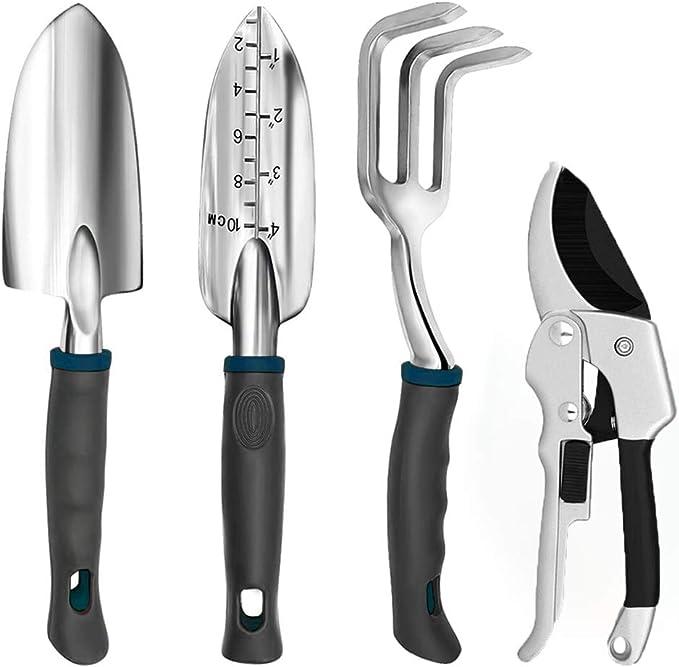 3Pcs Aluminum Garden Tool Set Gardening Tool Kit Hand Trowel Fork Pruning Shear