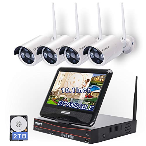 - All in one with Monitor[Expandable] Wireless Security Camera System WiFi NVR Kit 8CH 1080P NVR 4pcs 960P Indoor Outdoor Bullet IP Camera IR Night Vision Waterproof Plug and Play with 2T Hard Drive