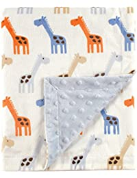 Hudson Baby Printed Mink Blanket with Dotted Backing,...