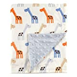#9: Hudson Baby Printed Mink Blanket with Dotted Backing, Blue Giraffe