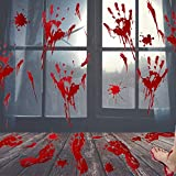 UMIKU 60Pcs Halloween Party Decorations Stickers Bloody Hand/Footprints Bloodstains Clings Scary Zombie Halloween Party Supplies Blood Stickers Indoor/Outdoor Halloween Floor Window Clings 10 Sheets