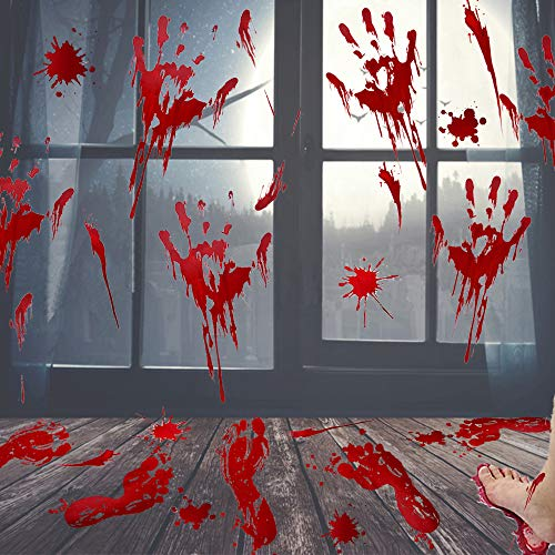 UMIKU 60Pcs Halloween Party Decorations Stickers Bloody Hand/Footprints Bloodstains Clings Scary Zombie Halloween Party Supplies Blood Stickers Indoor/Outdoor Halloween Floor Window Clings 10 Sheets by UMIKU