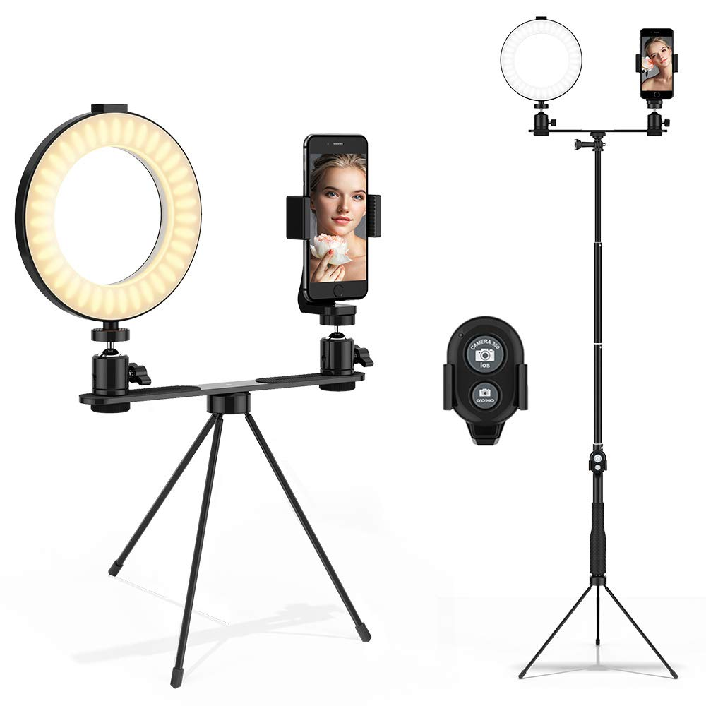 6'' LED Ring Light with Stand Phone Holder Remote, Bicolor Dimmable YouTube Lighting Kit, USB Powered Mini Halo Light  for Tabletop Desk Makeup, for iphone Selfie Shooting, Live-Streaming, Video Vlog by MACTREM