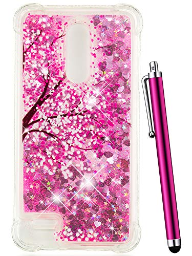 CAIYUNL Glitter Quicksand Liquid Floating Sparkle Bling Clear TPU Protective Luxury Case Shockproof Cover for LG K30 Case/LG Phoenix Plus/LG Premier Pro LTE/LG Harmony 2 /LG K10 2018-Hot Pink Tree