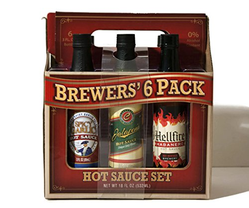 - Brewers' 6 Pack Hot Sauce Selections,each 3 Fl Oz, Jalapeno, Cayenne, Garlic, Habanero, Chipotle, and Mango Habanero, 6 Count.
