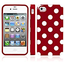 iPhone 4S Case, MagicMobile® Ultra Slim Thin Durable Glossy Fitted Cover TPU Fashion Design Polka Dot Pattern [Dual Color: Cherry - White]