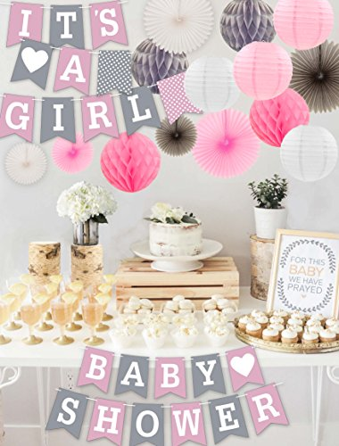 RainMeadow Premium Baby Shower Decorations for Girls Kit | It's A Girl | Garland Bunting Banner, Paper Lanterns, Honeycomb Balls | Tissue Paper Fans | Pink Grey White | Elephant Style]()