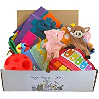 Piggy Poo and Crew Pig Box - $130 Value - Two Rooting Mats, Peanut Butter Stick, Large Treat Ball, Loop Toy, Rattle Ball, Game, & Paper Crinkle Toys