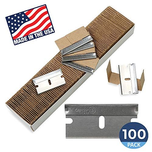 (Single Edge Razor Blades, Disposable Box Cutter Safety Razor, Paint Scraper Razor Blades By Canopus (100 Pack) - Fits ALL Standard Tools -%100 Made in USA)