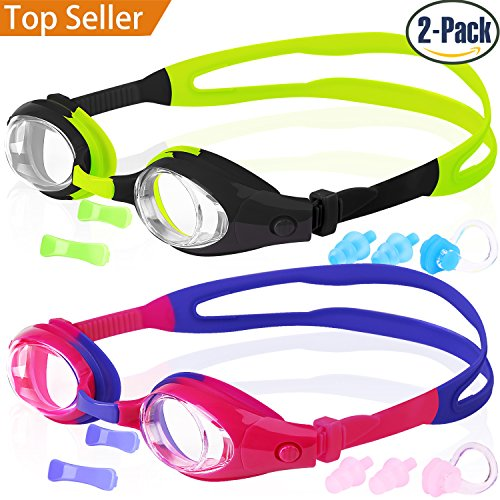 Kids Swim Goggles, Pack of 2, Swimming Glasses for Children and Early...