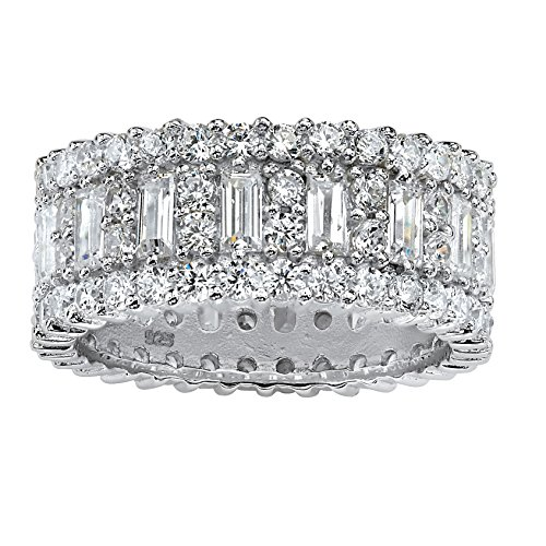 Baguette Cubic Zirconia Eternity Band in Platinum over .925 Sterling Silver