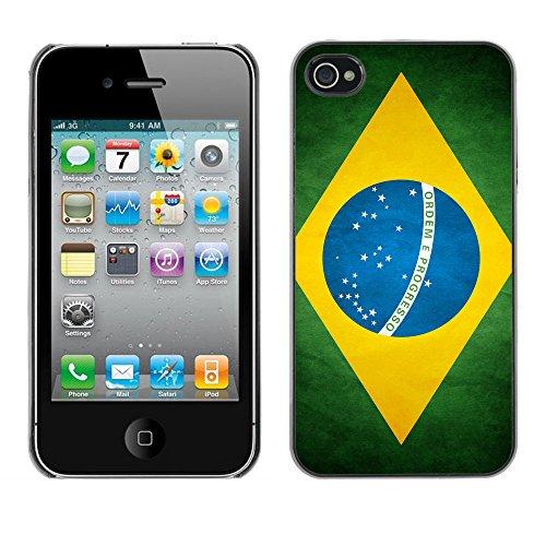 Omega Case PC Polycarbonate Cas Coque Drapeau - Apple iPhone 4 / 4S ( Brazil Grunge Flag )